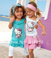 Wholesale 2013 new Girl s pieces suits Children Hello kitty suits Girl s short sleeve kitty dress leggings hair strap hair ties