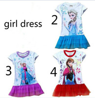 Wholesale stockings EMS FEDEX discount summer dress baby girls dresses frozen Princess Gauze Anna Elsa kid apparel MAY56