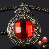 Wholesale Mechanical Mens Pocket Watch D Dragon Red Stone Skeleton Watch With Chain Watches
