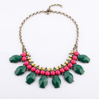 Wholesale 2013 New Hot Eye Catching Jewelry Gold Chain punk With green collar Necklace For Women JP091610