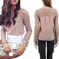 sexy blouses - S5Q Sexy Women Long Sleeve Lace Crochet Emboriey Loose Tops Blouse Casual Shirt AAADUF