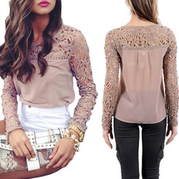 Wholesale S5Q Sexy Women Long Sleeve Lace Crochet Emboriey Loose Tops Blouse Casual Shirt AAADUF