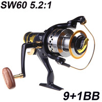Cheap NEW 9+1BB Ball Bearings Left Right Interchangeable Collapsible Handle Fishing Spinning Reel Reels SW60 5.2:1