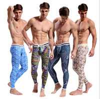 Men mens training pants - Sexy Mens Casual Cotton Low Rise Thermal Underwear Pants Long Johns Sweat Pants Training Baggy Jogging Trousers Home pants Pajamas With Tag