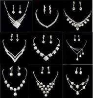 Wholesale Fashion Rhinestone Crystal Pearl Gemstone Jewelry Necklaces Bracelets Rings Earrings Bridal Wedding Jewelry Set