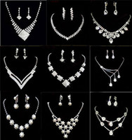 Wholesale New Arrivals Rhinestone Crystal Pearl Gemstone Jewelry Necklaces Bracelets Rings Earrings Bridal Wedding Jewelry Set