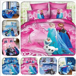 Wholesale Large size Frozen Bedding Frozen Princess Anna Elsa Olaf Soft Home Textiles Bedding Bsheet Pillow Case Duvet Cover Set Bed In A Bag