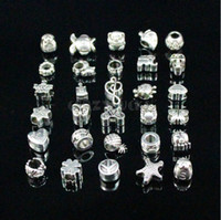 Wholesale 200pcs Mix Antique silver charms Large Hole Beads suitable for DIY European bracelet