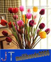 Wholesale Artificial silk dried decoration flower Tulip floor long cm colors vivid beautiful NO VASE for home shop party HSA0791