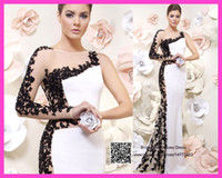 black and white evening dresses - 2015 Unique Design White And Black Evening Dresses One Shoulder Lace Beads Long Sleeves Mermaid Prom Gowns See Through E6090