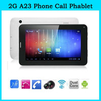 Wholesale 7inch dual core tablet pc V G phone call phablet allwinner A23 cellphone SIM card M GB GB bluetooth dual cam cheap tablet