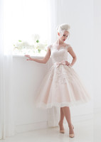 balls housing - House of Mooshki Wedding Dresses Blush tea length tulle and lace bridal gown with illusion neckline and cap sleeves