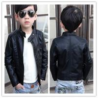 2014 New Children Fashion Jacket Kids Boy Long Sleeve PU Leather Stand Collar Little Child Boy Handsome Black Autumn Outwear