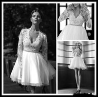 beads making designs - Vintage Design Lace Sleeve Mini Wedding Dresses Lace Tulle Crystals Beads V Neck Above Knee Length Short Bridal Gowns Custom Made W284