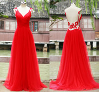 2015 Red Crystal Tulle Evening Dresses 2014 V Neck Pleated B...