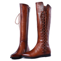 Wholesale ENMAYER brand new fashion Genuine leather knee high boots for women snow winter long Motorcycle boots pointed lady shoes