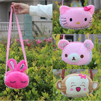 Wholesale Children plush Backpacks Two Size Girl and Boy Short Floss Toys Kid Swagger Bags Cartoon Cellphone Bag Change Purse Gift