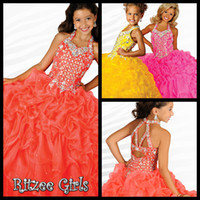 glitz pageant dress - Beauty Orange Girls Formal Occasion Pageant Dresses Halter Organza Ankle Length Glitz Pageant Dress Crystals Hollow Flower Girl s Dress