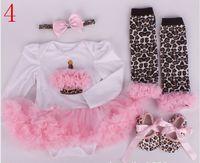 Wholesale 4pcs Baby One Piece Rompers Infant Jumpsuit Wear Girl Climb Clothes Newborn tutu Dress romper headband socks shoes Sets colors gmy