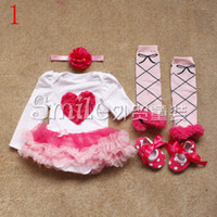 Wholesale 4pcs Baby One Piece Jumpsuit Rompers Infant Wear Girls Climb Clothes Newborn tutu Dress romper headband socks shoes Sets colors gmy