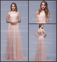 Wholesale 2015 Graceful Pink Chiffon Bridesmaid Dresses Sexy Lace Sheer Illusion Crew Neck Backless Pleats Floor Length Glitz A Line Prom Gown BZP0335