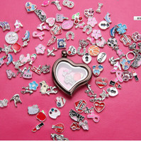 Lockets Europe and America Unisex Being Opening Glass Pendants Hearts Style Floating Zinc Alloy Lovely Box Pendant Pendants Wholesale Glass Locket Pendant for Floating FY004