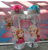 best suction cups - 2014 best selling New drinkware Frozen Anna and Elsa PP Texture Suction cups kids cartoon water bottle sports bottle