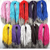 Wholesale In Stock MM quot lobster clasp knit mixed color Leather Braid Rope Necklace For diy Jewelry Making findings