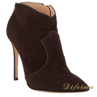 Cheap Pointed Toe Woman Ankle Brown Euramerican Style Short Party Boots Stretch Deerskin Leather Stitching Fashion Woman Shoes Stiletto Heel 12cm