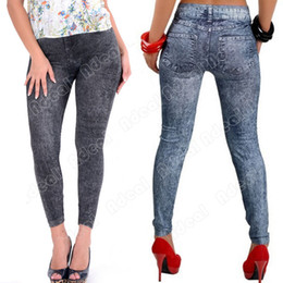 Wholesale New Fashion Women s Sexy Close fitting Imitated Denim Jean Leggings SV004648