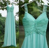 Wholesale Cheap Mint Green Chiffon A Line Bridesmaid Dresses Spaghetti V Neck Pleated Bodice Crystals Beads Floor Length Party Prom Gowns SU10