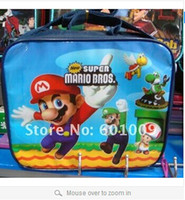 Wholesale EMS High Quality Nylon Cartoon Super Mario Bros Lunch bag including a lunch box