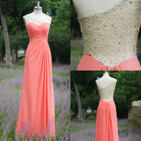 Real images charming sheer A line long chiffon prom dresses ...