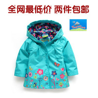 Wholesale 6pcs children girls baby clothing spring autumn kids jackets children windproof outerwear baby boys kids flowers blue coat Y