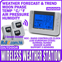 Cheap Indoor Outdoor Barometer Humidity Centigrade fahrenheit with 3 Sensors Wireless Weather Station