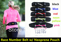 Wholesale DHL Race Number Belt with Neoprene Pouch colors Race Number Belt with waist pack Neoprene Pouch Belt