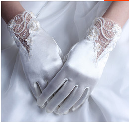 Wholesale ivory beaded new Korean wedding gloves wrist length bridal gloves lace wedding dress short paragraph wedding accessories