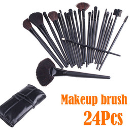 Wholesale 24 Top Quality Affordable Professional Makeup Brush Sets Cosmetic Make Up Brushes Tools Kit with Black Leather Case Bag