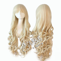Wholesale Milky pale gold Kotobuki Tsumugi flower of the leaf curls Jigme CM COSPLAY wig PL JF800 cabelo humano