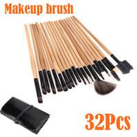Goat Hair affordable professional makeup brushes - High Quality Affordable Professional Wood Wool Makeup Brushes Kit Cosmetic Make Up Brush Set Pouch Bag Case