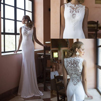 Cheap 2015 New Mermaid Wedding Dresses for Bride with Hollow Back Applique Lace Beading Pearls High Collar Stretch Satin Sweep Train Bridal Gowns