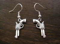antique revolver - Earring Antique silver REVOLVER GUN CHARM SP Earrings GIFT POUCH pair ab530
