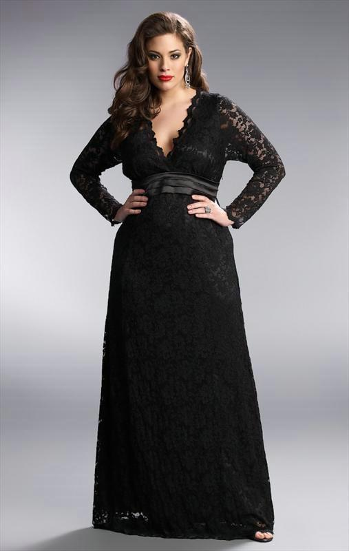 Black Plus Size Lace Long Prom Dresses Deep Plunging Neck Long Sleeve Sash Floor  Length A Line Sheer Evening Gowns Plus Size Lace Prom Dress Plunging Neck  ...