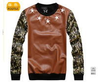 Cheap Wholesale-2013free shipping 2014 winter new skateboard hee Happy PU jacket camouflage sleeve crew neck pullover men sweatshirt