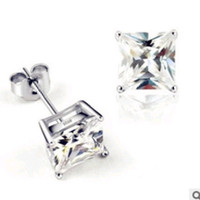 Wholesale Square Crystal Stud Earring Hot Selling Earrings Sterling Silver on Platinum Plated Fashion Jewelry Supplier OE79