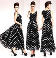Envío gratis + Gratis Cinturón de Mujer Casual Elegante Dulce patrón de lunares Largo de Un Vestido de línea