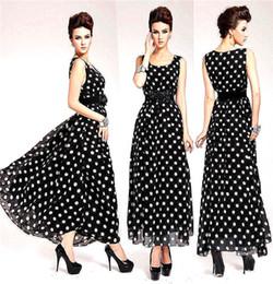 Envío gratis + Gratis Cinturón de Mujer Casual Elegante Dulce patrón de lunares Largo de Un Vestido de línea desde línea vestido de lunares larga fabricantes