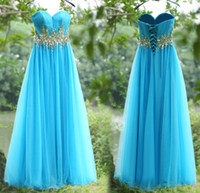 Wholesale 2015 Ruched Tulle Party Dresses with Sweetheart Beads Crystals A Line Lace up Empire Waist Bridesmaid Dress Light Blue Long Prom Gowns SU12