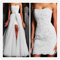 Cheap 2015 Strapless Prom Dresses Lace Applique Evening Form...