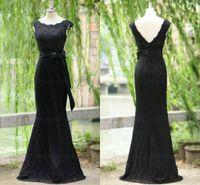 plus size prom dresses - Sfani Real Photos New Prom Dresses Black Lace Mermaid Modest Evening Dress Plus Size Button Back